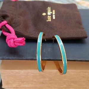 Kate Spade Turquoise & Gold Hoops in Dustbag